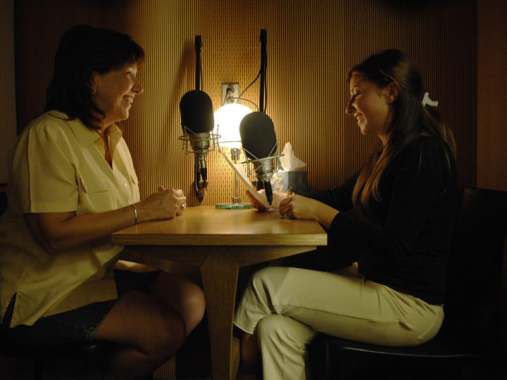 A StoryCorps recording session